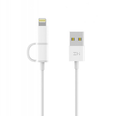 کابل تبدیل USB به لایتنینگ/microUSB زد ام آی مدل 2in1 طول 1 متر